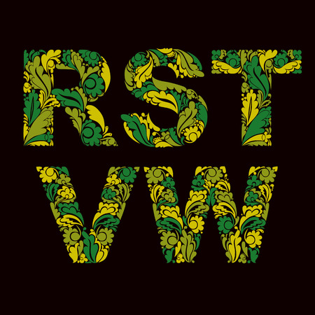 drop cap: letters decorated with spring seasonal leaves, R, S, T, V, W.