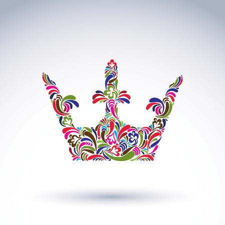 coronation: Colorful flower-patterned crown, coronation design element