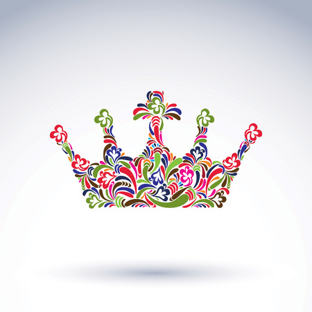 coronet: Colorful flower-patterned crown, coronation design element