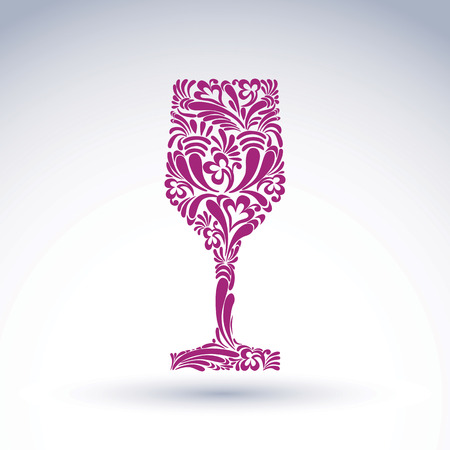 Creative goblet with floral ethnic pattern