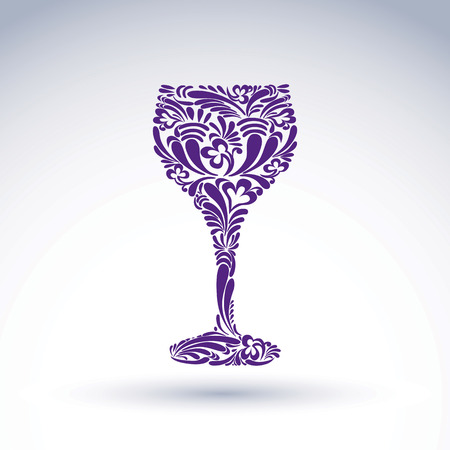 Creative goblet with floral ethnic tracery, relaxation and alcohol theme object. Sophisticated wineglass, romantic vector design element, can be used in graphic design.
