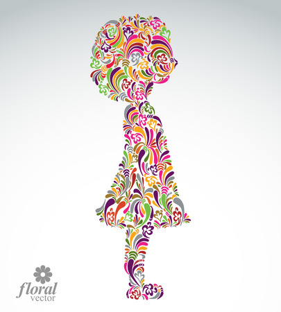 teenage girl dress: Creative illustration of a girl with a short hair. Cute teenage girl wearing a flower-patterned dress. Graphic vector beautiful image of a schoolgirl. Illustration