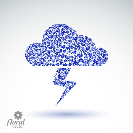 Thunder and lightning meteorology pictogram. Weather forecast floral simple marking – stylized weather conditions symbol, best for use in graphic and web design.