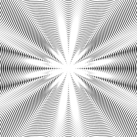 moire: Abstract lined background, optical illusion style. Chaotic lines creating geometric pattern with visual effects.