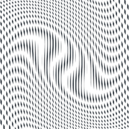 Illusive background with black chaotic lines, moire style. Contrast geometric trance pattern. Illustration