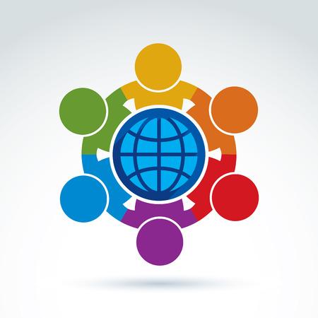 グローブ サイン、経営陣の周りに立って人々 のベクター イラストです。グローバル ビジネス ブランド概念のアイコン。地球保護の考え。  イラスト・ベクター素材