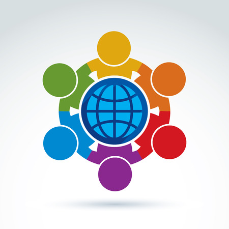 Vector illustration of people standing around a globe sign, management team. Global business branding conceptual icon. Earth protection idea.