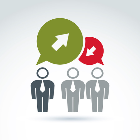 contra: Silhouettes of people facing forward, illustration of a problem discussion with contra opinions. Vector business and management icon. Speech bubbles with green and red arrows.