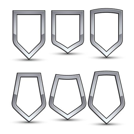 Set of heraldic vector emblem with silver outline, collection of 3d conceptual defense geometric badges isolated on white background. Eps8 silver blazons isolated on white background. Dimensional decorative coat of arms. Illustration
