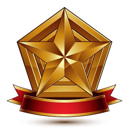 blazon: 3d golden heraldic blazon with glossy pentagonal star, best for web and graphic design, clear vector. Decorative coat of arms with red wavy ribbon, defense symbol. Illustration