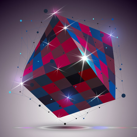 Dimensional twisted shiny cube with lights effect. 3d colorful design element with connected lines, can be used in engineering and technology projects. Illustration