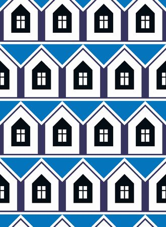 frontage: Simple houses continuous vector background. Property developer conceptual elements, real estate theme.  Building modeling and engineering projects idea seamless pattern.