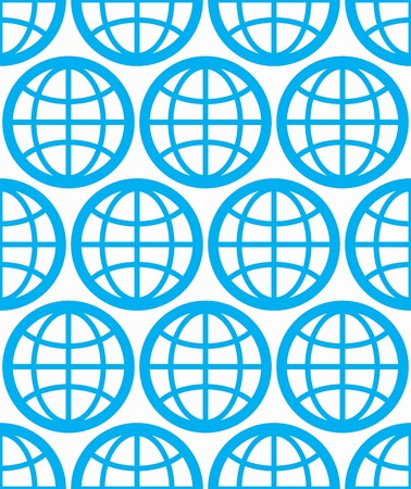 geographic: Globes seamless vector background, planets conceptual symbols. Repeated backdrop with blue Earth symbols, geographic idea. Illustration