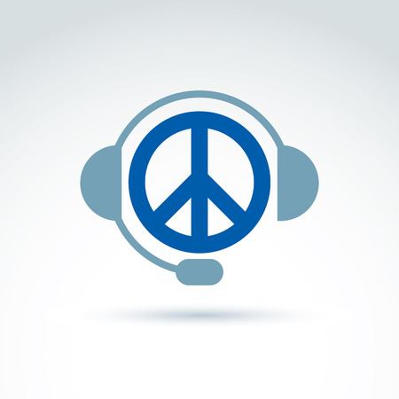 antiwar: Call center icon with headphones, consultation symbol. Antiwar vector icon, peace symbol from 60s. Illustration