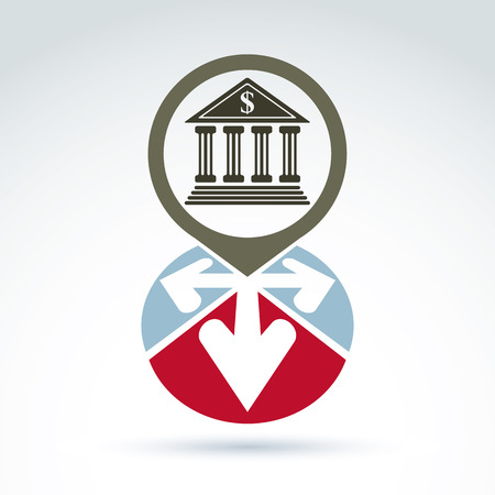 conceptual symbol: Bank building with arrows vector icon, conceptual symbol, business and finance banking theme. Illustration