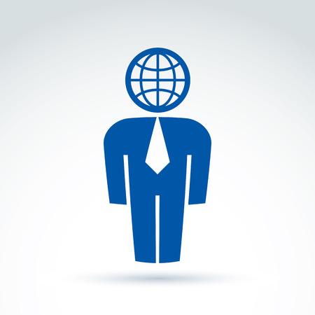 delegar: Silueta de la persona de pie delante - ilustraci�n vectorial de un gerente. Delegado, consultor, trabajador de cuello blanco. S�mbolo del vector Tierra, icono global de negocios. Vectores