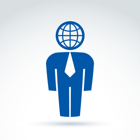 Silhouette of person standing in front - vector illustration of a manager.  Delegate, consultant, white-collar worker. Vector Earth symbol, global business icon. Illustration