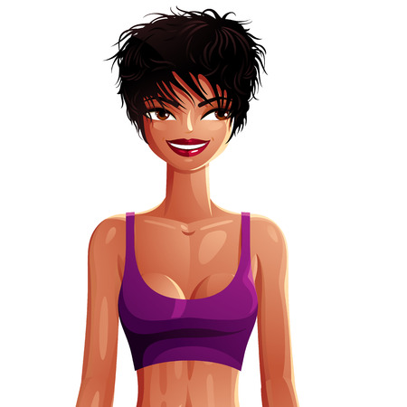 mulatto: Beautiful coquette lady illustration, upper body portrait of a sexy slim brunette. People expression of a young pretty mulatto woman isolated on white. Fitness idea, healthy lifestyle theme. Illustration