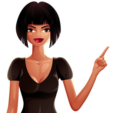 mulatto: Beautiful tanned woman pointing at something to side with her finger, vector illustration. Colorful drawing of a cute slender girl with modern makeup and hairstyle.