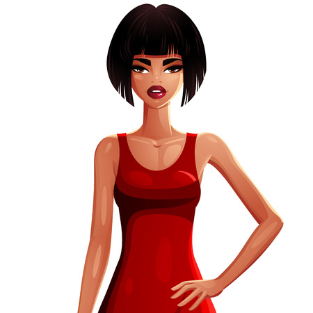is slender: Beautiful tanned slender woman wearing an elegant emerald dress, female portrait. Colorful drawing of a cute slim girl holding her hand on her waist.
