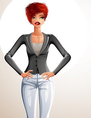 sexy woman standing: Attractive white-skin standing girl, colorful illustration. Sexy Caucasian woman, well-dressed glamorous business lady holding her hands on a waist.
