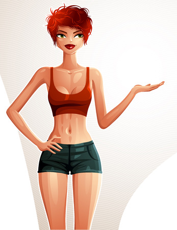 Beautiful coquette lady illustration, full body portrait of a sexy slim red-haired girl showing something with her hand. Young pretty woman holding hand on a waist. Well-being and sport theme.