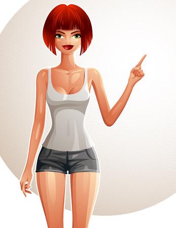 girl sport: Illustrazione di una giovane donna in un abbigliamento sportivo con un taglio di capelli moderno. Il corpo ritratto di una civetta signora, bianco-pelle ragazza. Sport e fitness idea, tema stile di vita sano. Vettoriali