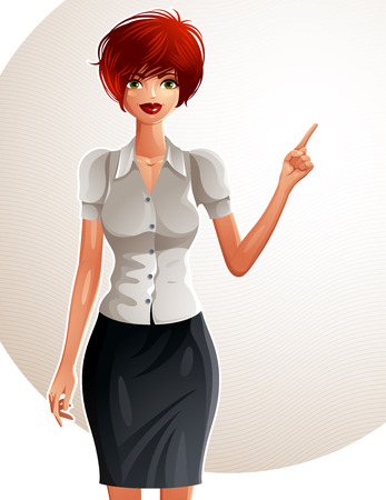 Illustration of a young pretty businesswoman with a modern haircut. Full body portrait of a coquette lady, white-skin girl pointing finger at some empty copy space.
