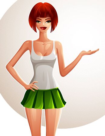 tennis skirt: Young pretty red-haired lady showing something to side with her hand, a female with modern haircut. Vector illustration of woman standing wearing a tennis skirt and a top, full body portrait.