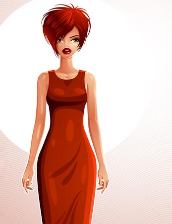 frau ganzk�rper: Sexy Coquette wei�-Haut Frau tr�gt ein elegantes Kleid, Ganzk�rper-Portrait. Attraktive Dame mit einem stilvollen Make-up isoliert auf wei�em Hintergrund.