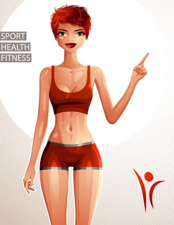 is slender: Beautiful lady illustration, full body portrait of slender red-haired female pointing at some empty copy space to side with her finger. Sport, health and fitness theme illustration.