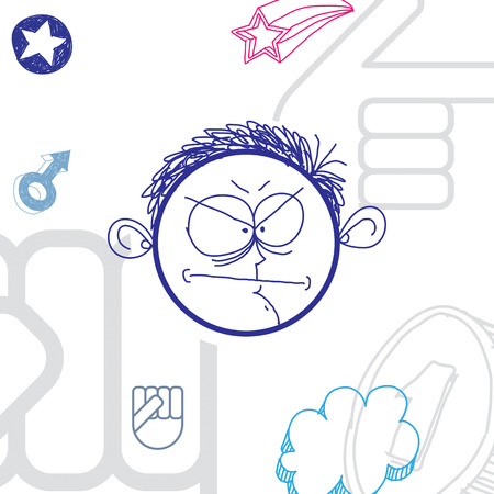 temperament: Vector art colorful drawing of angry person, education and social network design elements isolated on white. Allegory illustration, emotions and human temperament concept. Illustration