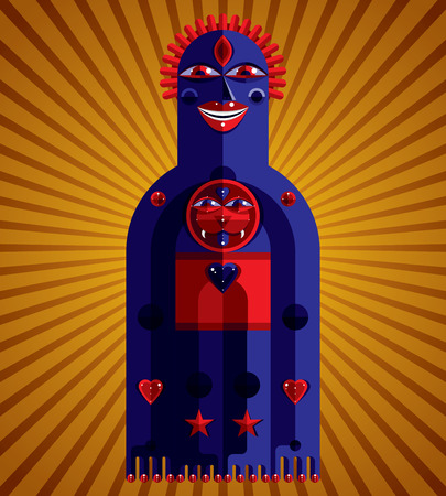 mythic: Cubism theme vector graphic illustration, modernistic symbol. Geometric cartoon character, mythic creature or shaman. Colorful drawing of  pagan idol.