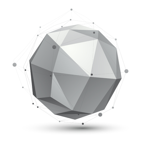 single color: Geometric vector abstract 3D complicated spherical lattice object