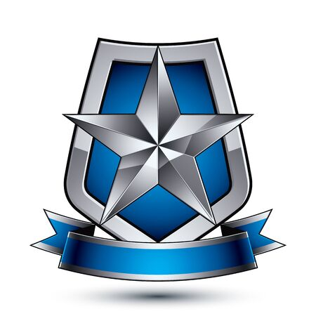 renown: Renown vector silver star emblem with wavy ribbon placed on a protection shield, 3d sophisticated pentagonal design element, clear EPS 8. Illustration
