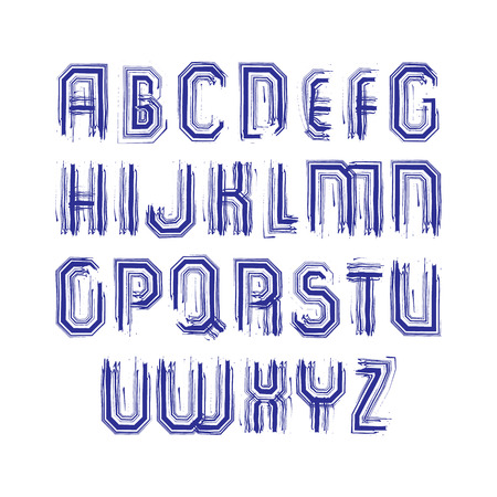 typescript: Multicolored handwritten striped uppercase letters, vector doodle brush typescript, hand-painted set of letters with brushstrokes.