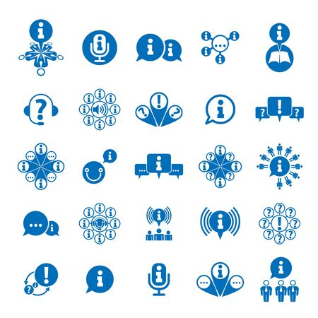 collecting: Information analyzing collecting and exchange theme icon set, analyze and solution, vector conceptual unusual symbols for your design. Illustration