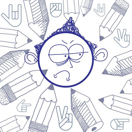 special education: Vector ilustraci�n colorida del muchacho de la historieta triste aislado en el fondo especial con dibujados a mano elementos de dise�o, idea educaci�n. Las expresiones faciales en la cara adolescente.