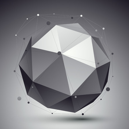 spatial: Spatial vector monochrome digital , dimensional technology sphere with wireframe over contrast background. Illustration