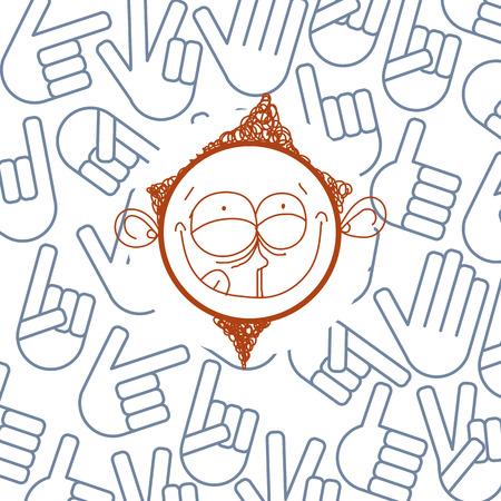 temperamento: Arte del vector colorido dibujo de contenido persona, la educaci�n y los elementos de dise�o de la red social y muestras de la mano aislado en blanco. Ilustraci�n Alegor�a, las emociones y el concepto de temperamento humano.