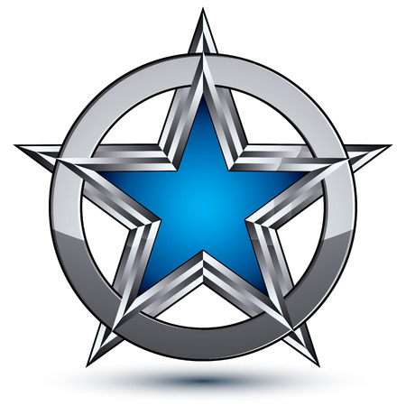 silvery: Branded silvery rounded geometric symbol, stylized pentagonal blue star placed in a silver ring, best for use in web and graphic design.  Illustration