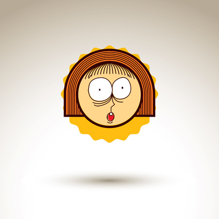 expresiones faciales: Vector simple ilustraci�n de la muchacha sorprendida aislada en el fondo blanco, dibujado a mano elemento de dise�o, avatar web para redes sociales. Las expresiones faciales en la cara adolescente.