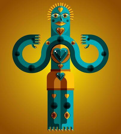 cubismo: Ilustración extraña criatura vector, el cubismo foto gráfico moderno. Imagen Diseño plano de un extraño personaje aislado. Concepto del amor.