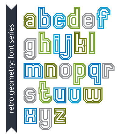 verb: Double lines acute-angled geometric font with outline, colorful lowercase letters best for use in posters and web design. Illustration