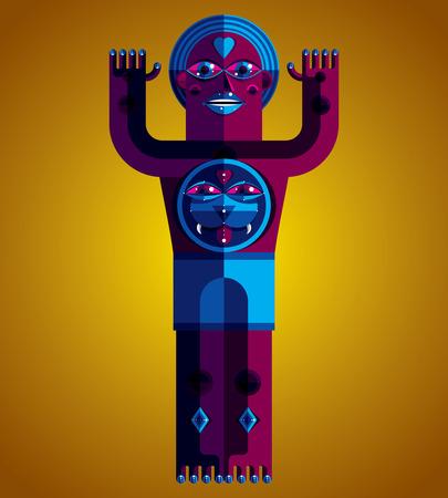 cubismo: Ilustración vectorial modernista, geométrico avatar estilo del cubismo aislado en fondo de arte. Imagen de carácter extraño hecho en diseño plano.