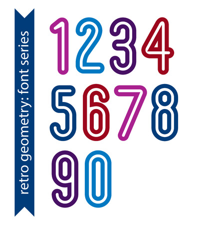bold: Bright poster classic style rounded bold numbers. Ordinary vector numeration for graphic, print or web design.