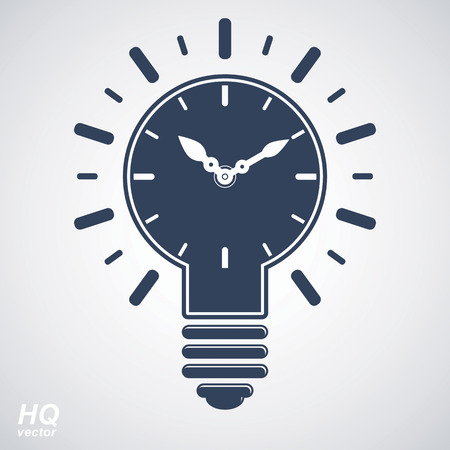 brain storm: Vector timer and a electricity light bulb sign, brain storm conceptual icon - corporate problem solution theme. Wall clock with an hour hand. Graphic web insight emblem. Illustration