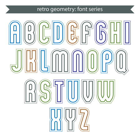 verb: Poster light elegant font with outline. Contemporary vector colorful calligraphic letters isolated on white backdrop.