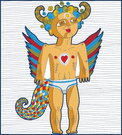 nude mann: Vector Hand gezeichnete Grafik gezeichnet Abbildung der symbolischen Charakter, cartoon nackten Mann mit Fl�geln, tierische Seite des Menschen. Liebe Konzept, idol Allegorie Zeichnung.