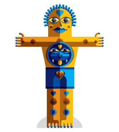 cubismo: Estilo modernista colorida ilustración vectorial a partir de figuras geométricas. Imagen Diseño plano de la criatura mítica, tema cubismo. Dibujo colorido de una bestia mística.